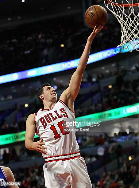 Paul Zipser of the Chicago Bulls puts up a shot against the Philadelphia 76ers at the United Center on January 29 2017 in Chicago Illinois The Bulls...