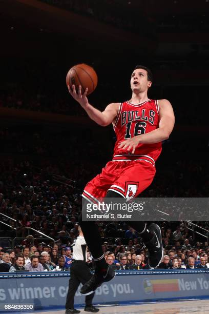 Paul Zipser of the Chicago Bulls shoots a lay up against the New York Knicks on April 4 2017 at Madison Square Garden in New York City New York NOTE...