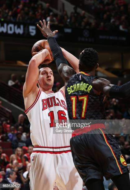 Paul Zipser of the Chicago Bulls shoots the ball against the Atlanta Hawks during the game on April 1 2017 at the United Center in Chicago Illinois...