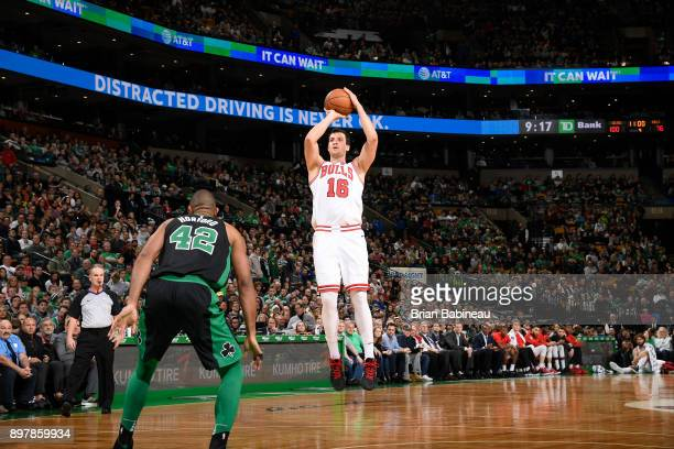 Paul Zipser of the Chicago Bulls shoots the ball against the Boston Celtics on December 23 2017 at the TD Garden in Boston Massachusetts NOTE TO USER...