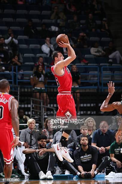 Paul Zipser of the Chicago Bulls shoots the ball against the Milwaukee Bucks on October 15 2016 at the BMO Harris Bradley Center in Milwaukee...