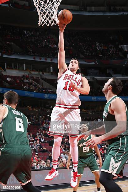Paul Zipser of the Chicago Bulls shoots the ball against the Milwaukee Bucks on December 16 2016 at the United Center in Chicago Illinois NOTE TO...