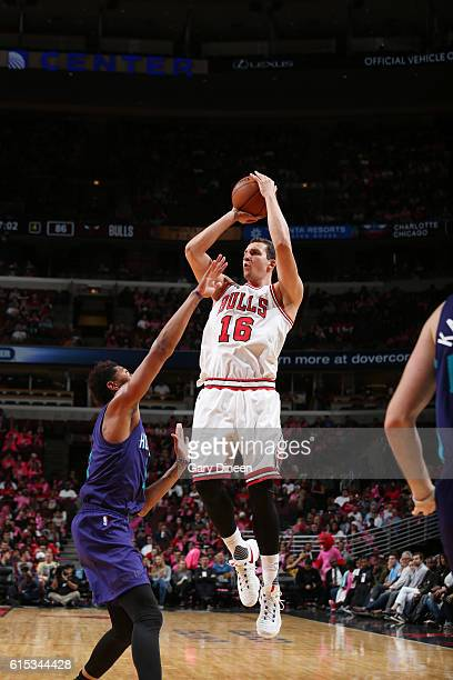 Paul Zipser of the Chicago Bulls shoots the ball against the Charlotte Hornets on October 17 2016 at the United Center in Chicago Illinois NOTE TO...