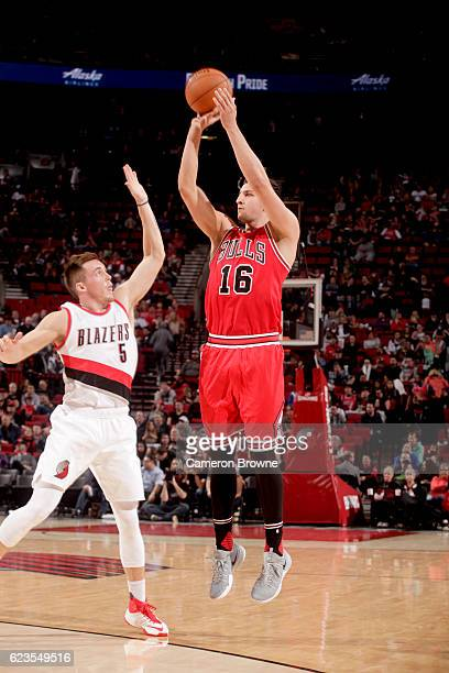 Paul Zipser of the Chicago Bulls shoots the ball against the Portland Trail Blazers on November 15 2016 at the Moda Center in Portland Oregon NOTE TO...