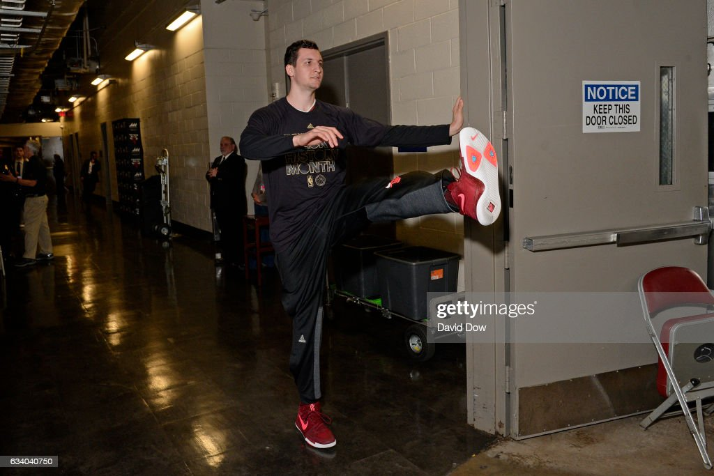 Paul Zipser #16 of the Chicago Bulls stretches in the hall before the game against the Houston Rockets on February 3, 2017 at the Toyota Center in Houston, Texas.