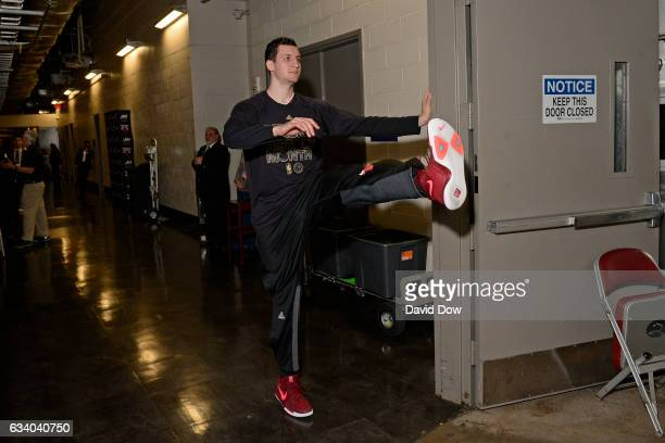 Paul Zipser of the Chicago Bulls stretches in the hall before the game against the Houston Rockets on February 3 2017 at the Toyota Center in Houston...