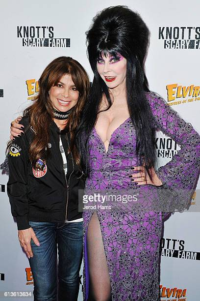 Paula Abdul and Elvira attend Knott's Scary Farm at Knott's Berry Farm on October 8 2016 in Buena Park California