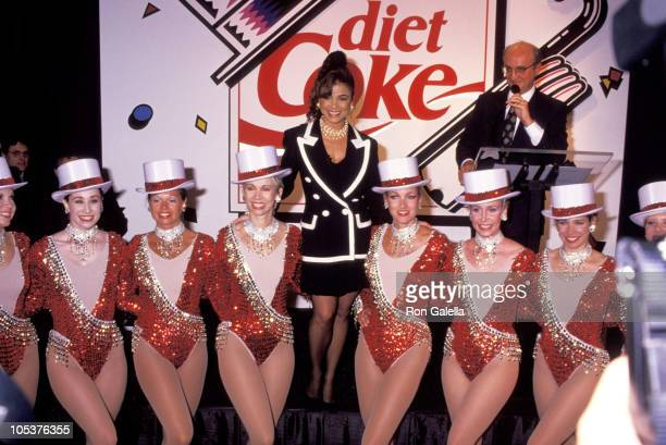 Paula Abdul and The Rockettes during Times Square Unveiling of Diet Coke Sign at Times Square in New York City New York United States