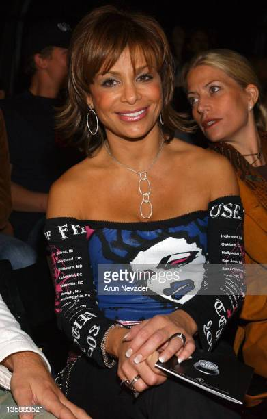 Paula Abdul during Smashbox LA Fashion Week Spring 2004 House of Field Front Row at Smashbox Studios in Culver City California United States