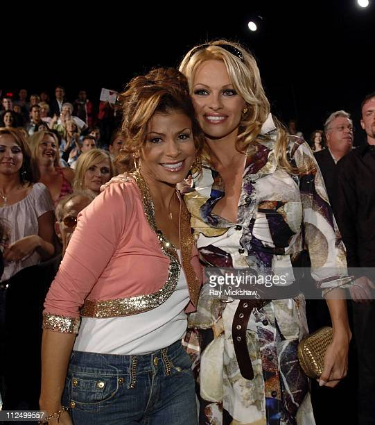"Paula Abdul, judge and Pamela Anderson during ""American Idol"" Season 4 - Results Show - April 27, 2005 at American Idol Studios in Los Angeles,..."