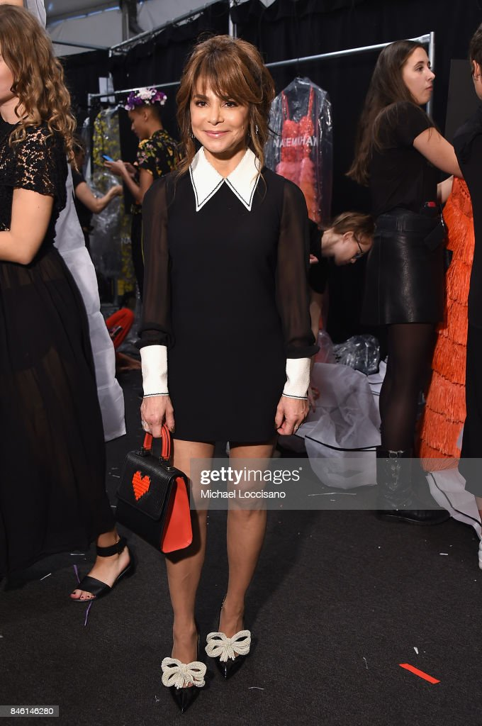 Paula Abdul poses backstage for TRESemme at Naeem Khan NYFW SS18 on September 12, 2017 in New York City.