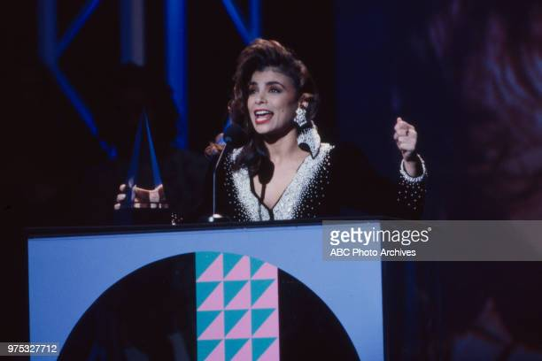 Paula Abdul receiving award on the 17th Annual American Music Awards Shrine Auditorium January 22 1990