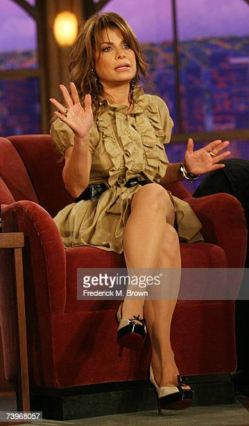 Paula Abdul speaks during a segment of The Late Late Show with Craig Ferguson at CBS Television City on April 24 2007 in Los Angeles California