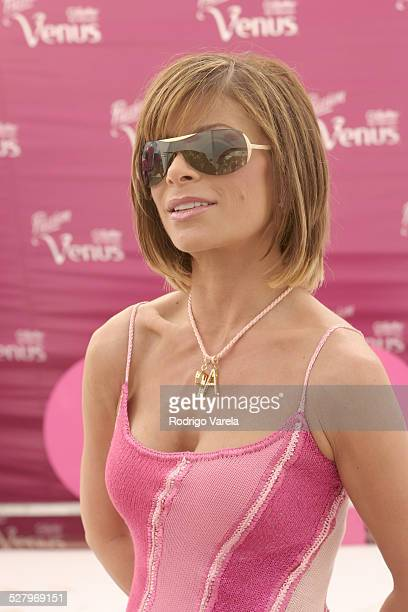 Paula Abdul wearing Ralph Lauren 881S sunglasses during Safilo at the Gillette Passion Venus Legs of a Goddess Contest in South Beach Florida United...
