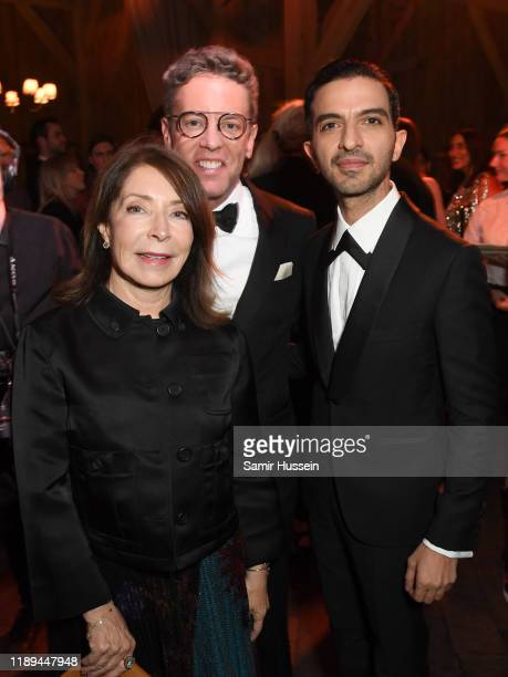 Paula and Glenn Wallace with Imran Amed attending the gala dinner in honour of Edward Enninful winner of the Global VOICES Award 2019 during...