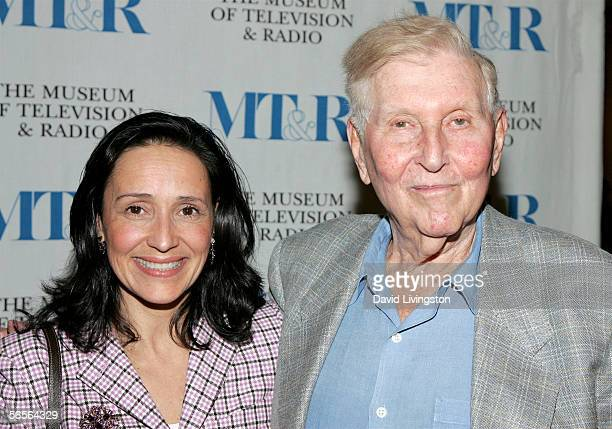 Paula and Sumner Redstone pose at the Museum of Television and Radio's John H Mitchell Seminar which Mr Redstone Chairman of the Board and Chief...