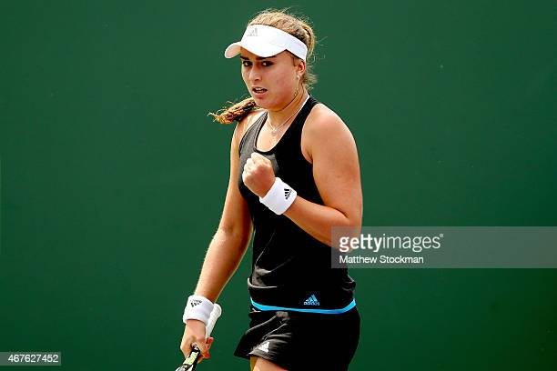 Paula Badosa Gibert of Spain celebrates a point against Saisai Zheng of China during day 4 of the Miami Open Presented by Itau at Crandon Park Tennis...