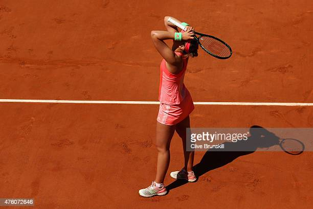 Paula Badosa Gibert of Spain celebrates match point in the girl's singles final match against Anna Kalinskaya of Russia on day fourteen of the 2015...