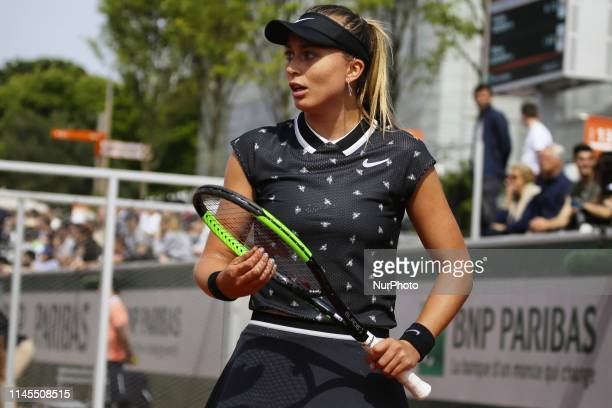 Paula Badosa Gibert of Spain in action during the first qualifications round of Roland Garros against Tamara Korpatsch of Germany on 22 May 2019 in...