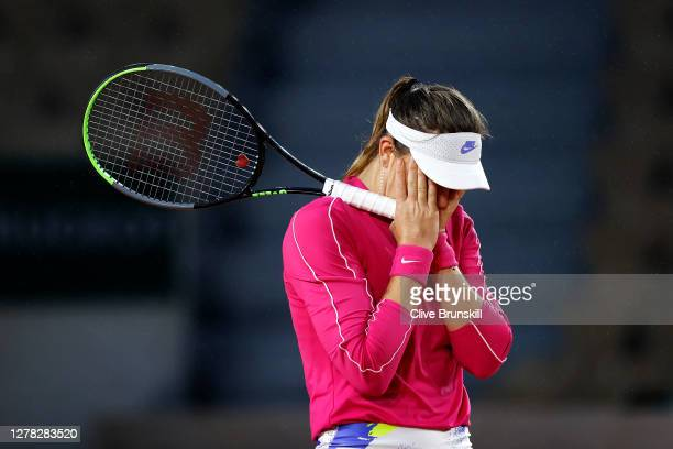 Paula Badosa of Spain celebrates after winning match point during her Women's Singles third round match against Jelena Ostapenko of Latvia on day...