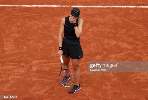Paula Badosa of Spain celebrates after winning match point during her Women's Singles fourth round match against Marketa Vondrousova of Czech...