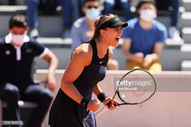 Paula Badosa of Spain celebrates in her First Round match against Lauren Davis of The United States during Day One of the 2021 French Open at Roland...