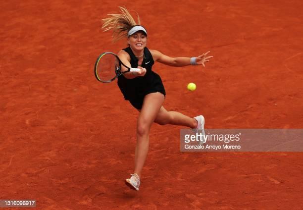 Paula Badosa of Spain hits a forehand during her match against Anastasija Sevastova of Latvia at La Caja Magica on May 03, 2021 in Madrid, Spain.