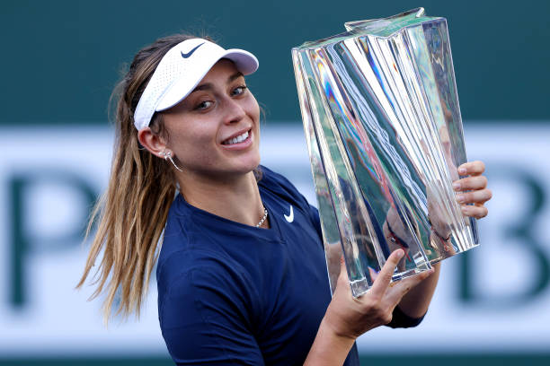 Paula Badosa of Spain holds the trophy after defeating Victoria Azarenka in the Women's Singles Final match on Day 14 of the BNP Paribas Open on...