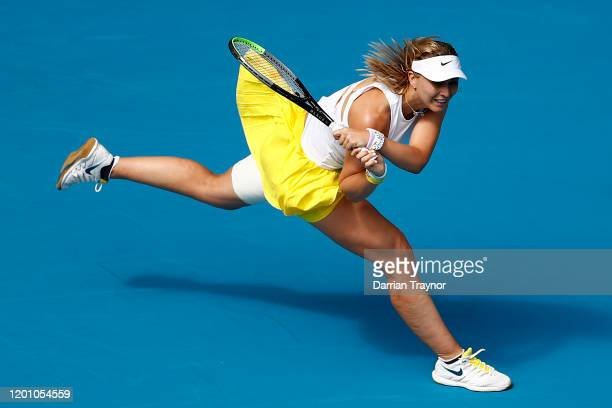 Paula Badosa of Spain plays a backhand during her Women's Singles second round match against Petra Kvitova of Czech Republic on day three of the 2020...