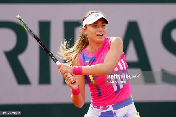 Paula Badosa of Spain plays a backhand during her Women's Singles second round match against Sloane Stephens of The United States of America on day...