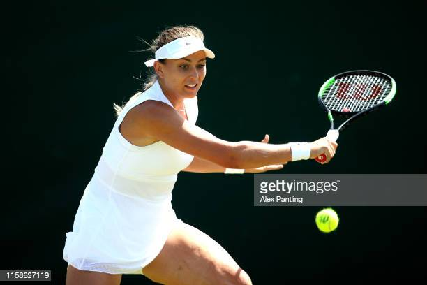 Paula Badosa of Spain plays a backhand in her ladies singles match against Samantha Murray of Great Britain during qualifying prior to The...