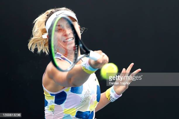 Paula Badosa of Spain plays a forehand during her Women's Singles first round match against Johanna Larsson of Sweden on day one of the 2020...