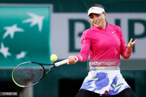 Paula Badosa of Spain plays a forehand during her Women's Singles third round match against Jelena Ostapenko of Latvia on day seven of the 2020...