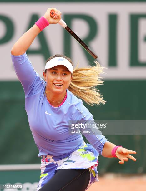 Paula Badosa of Spain plays a forehand during her Women's Singles fourth round match against Laura Siegemund of Germany on day nine of the 2020...