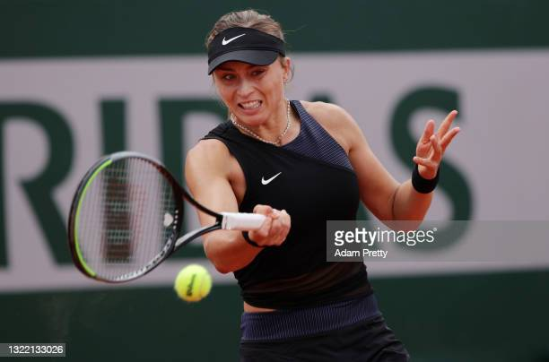 Paula Badosa of Spain plays a forehand during her Women's Singles fourth round match against Marketa Vondrousova of Czech Republic on day eight of...
