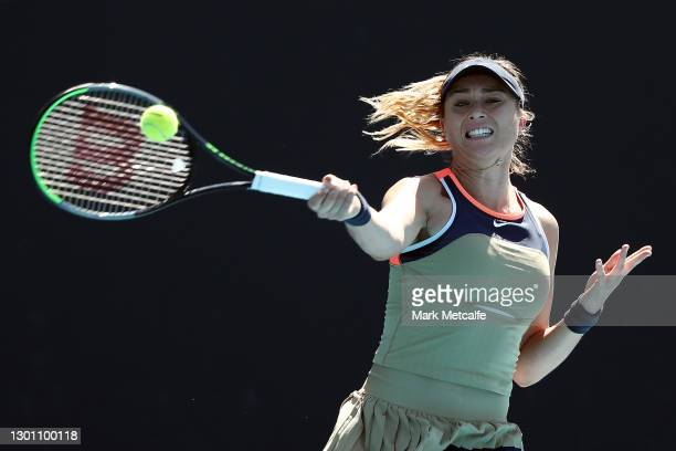 Paula Badosa of Spain plays a forehand in her Women's Singles first round match against Liudmila Samsonova of Russia during day two of the 2021...