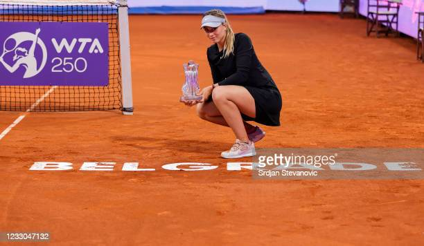 Paula Badosa of Spain poses with the winners trophy after defeating Ana Konjuh of Croatia in the Belgrade Ladies Open women's final at Novak Tennis...