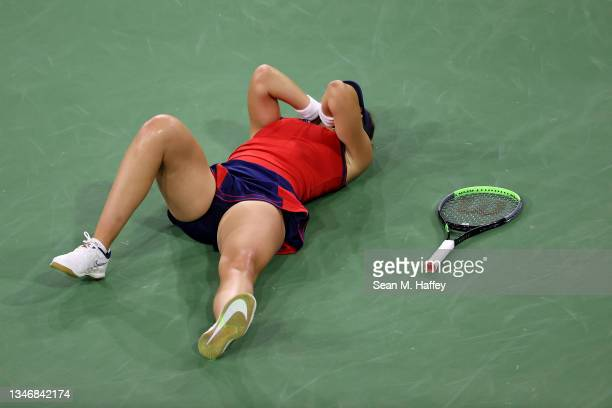 Paula Badosa of Spain reacts after defeating Ons Jabeur of Tunisia in their match on Day 12 of the BNP Paribas Open on October 15, 2021 in Indian...