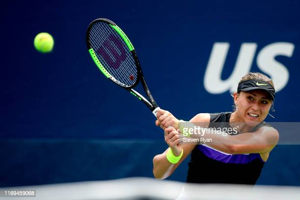 Paula Badosa of Spain returns a shot during her women's singles second round match against Quirine Lemoine of the Netherlands on Day Three of the...