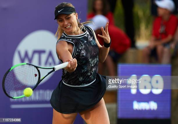 Paula Badosa of Spain returns a shot in her ladies singles second round match against Caroline Garcia of France during day four of the 2019 WTA...