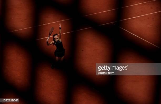 Paula Badosa of Spain serves during her Women's Singles fourth round match against Marketa Vondrousova of Czech Republic on day eight of the 2021...