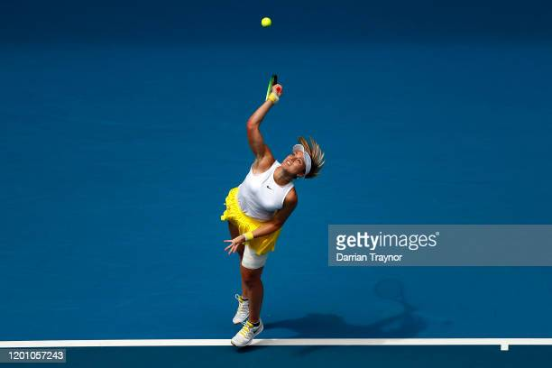 Paula Badosa of Spain serves during her Women's Singles second round match against Petra Kvitova of Czech Republic on day three of the 2020...