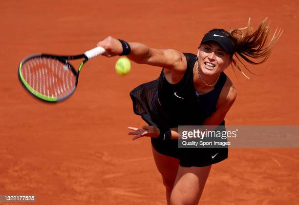 Paula Badosa of Spain serves in her Fourth Round match against Marketa Vondrousova of Czech Republic during day eight of the 2021 French Open at...