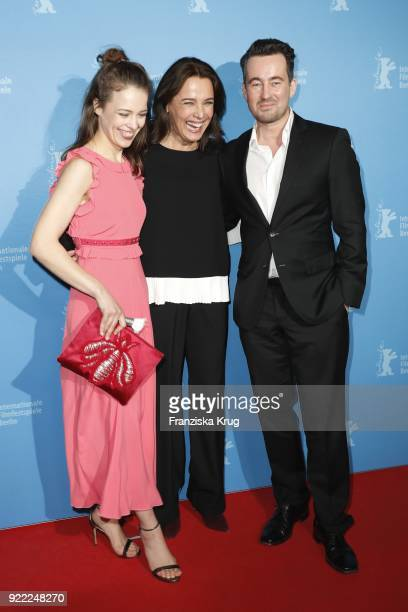 Paula Beer Desiree Nosbusch and Christian Schwochow attend the 'Bad Banks' premiere during the 68th Berlinale International Film Festival Berlin at...