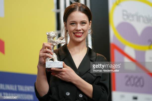 Paula Beer winner of the Silver Bear for Best Actress for the film Undine speaks at the award winners press conference during the 70th Berlinale...
