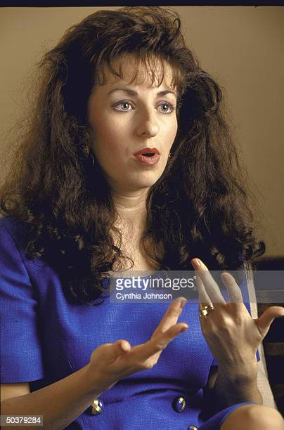 Paula Corbin Jones former Arkansas clerical worker bringing sex harassment suit against Pres Clinton for alleged sexual advances speaking during...