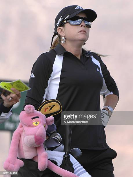 Paula Creamer and her pink panther on the eighth tee during the second round of the 2007 Safeway International at Superstition Mountain Golf and...