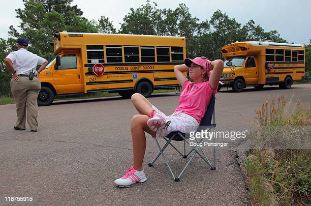 Paula Creamer awaits the evacuation decision after play was suspended due to weather during the final round of the U.S. Women's Open at The Broadmoor...