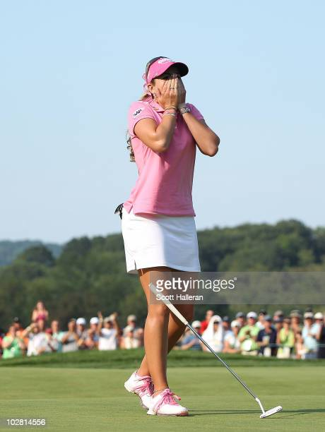 Paula Creamer celebrates her four-stroke victory at the 2010 U.S. Women's Open at Oakmont Country Club on July 11, 2010 in Oakmont, Pennsylvania.