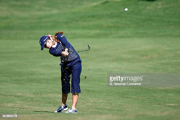 Paula Creamer hits a shot on the 7th hole during the second round of the SemGroup Championship presented by John Q Hammons on May 2 2008 at Cedar...